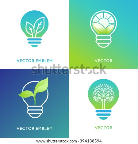 Vector logo design template in bright gradient colors - eco energy concept - light bulb icons with green leaves - stock vector