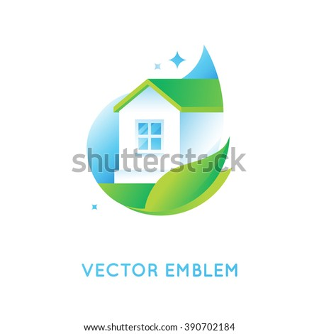 Vector logo design template in bright green gradient colors - cleaning service or eco friendly home concept - stock vector