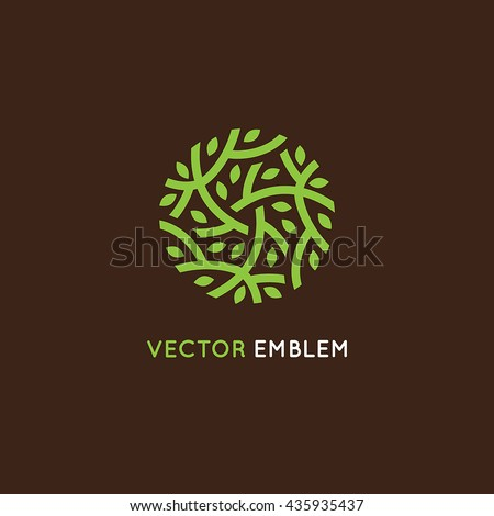 Vector logo design template in green color - abstract sign end emblem for holistic medicine centers, organic food stores, natural cosmetics products - circle made with leaves and branches