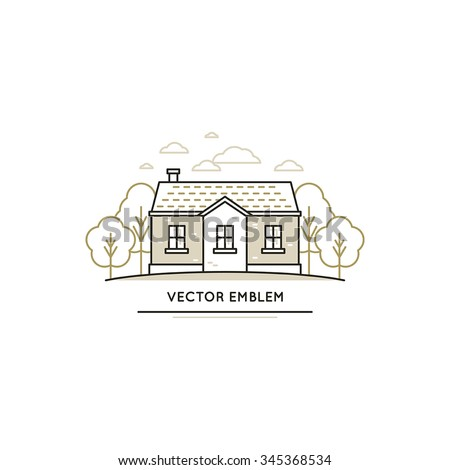 Vector logo design template in trendy linear style - summer cottage house with trees and clouds - stock vector