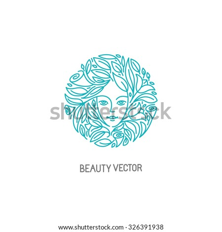 Vector logo design template in trendy linear style with female face - abstract beauty symbol for hair salon or organic cosmetics  - stock vector