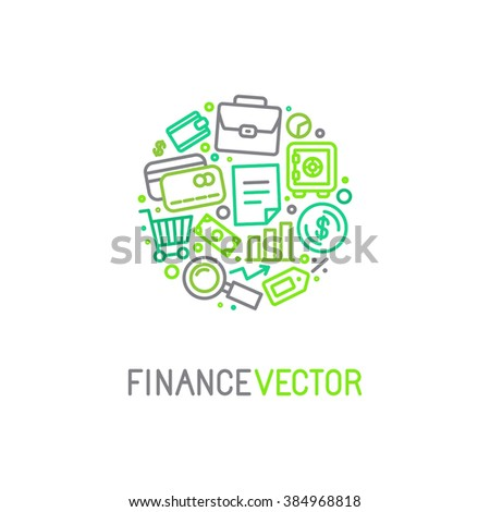 Vector logo design template in trendy linear style with icons related to banking and business - finance concept for financial startups and traders - stock vector