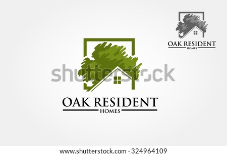 Vector Logo Design Template Of Oak Tree And House That Made From A Simple  Scratch.