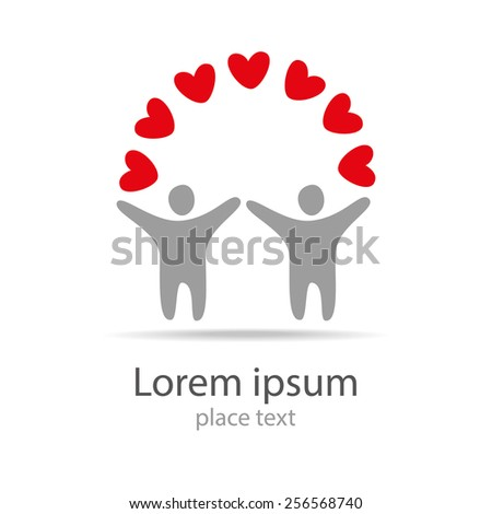 Vector logo design template. People with heart. Concept for social network, team work, partnership, friends, business cooperation, and etc. - stock vector