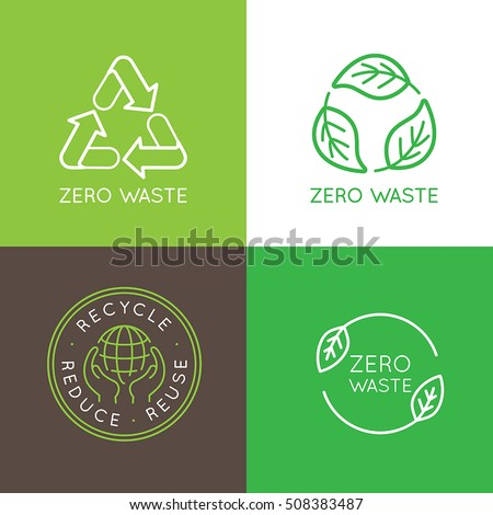 Vector logo design templates and badges in trendy linear style - zero waste concept, recycle and reuse, reduce - ecological lifestyle and sustainable developments icons