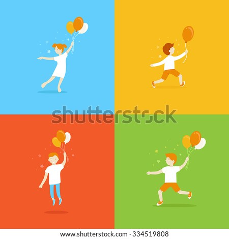 Vector logo design templates and cartoon mascots - abstract concepts and icons for kid and children store in flat style - happy girls and boys with balloons - stock vector