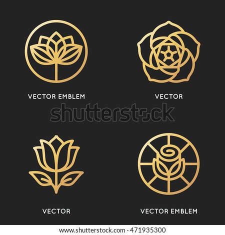 vector logo design templates and signs in trendy linear style and golden colour flower emblems