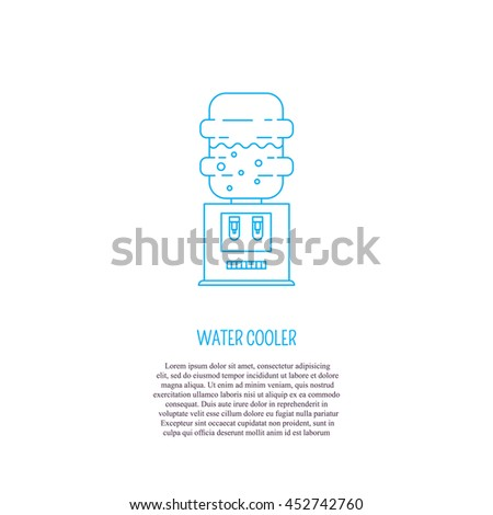 Vector logo design with water cooler and place for text. Perfect for business card, water delivery service. Water cooler isolated on white background. - stock vector