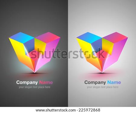Vector logo elements. Origami. Colorful icon. Corporate identity. - stock vector