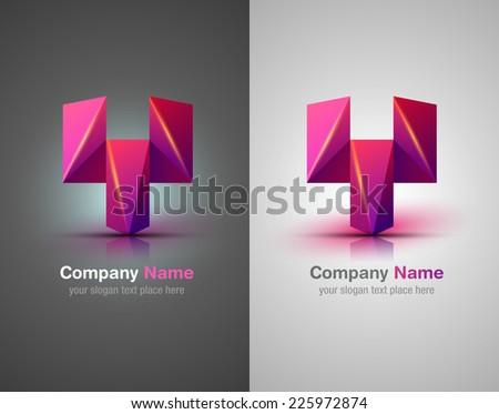 Vector logo elements. Origami. Purple icon.Corporate identity. - stock vector