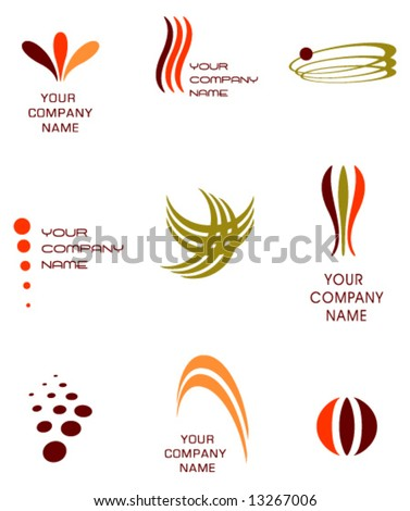 vector logo elements set 3- retro - stock vector
