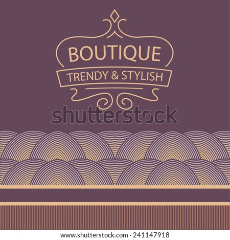 Vector logo for boutique clothing, accessories, jewelry and ornaments. Trendy and stylish. Vintage. The premium segment. Identification elements: logo, background, colors, decorative ribbon.  - stock vector
