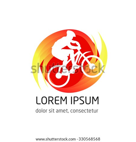 vector logo for Cycling. Cyclist logo. Silhouette of a cyclist llustration - stock vector