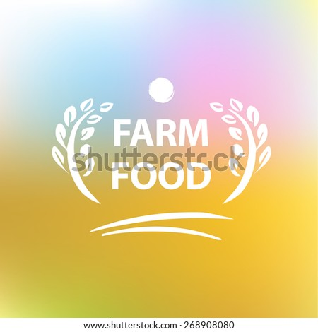 Vector logo for farming. Premium quality. Blurred landscape background - stock vector