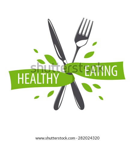 vector logo fork and knife for a healthy diet - stock vector