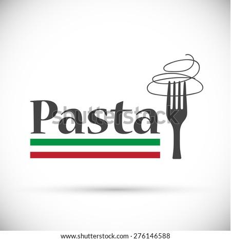 Vector logo fork with Italian pasta - stock vector