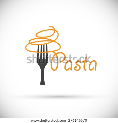 Vector logo fork with pasta - stock vector