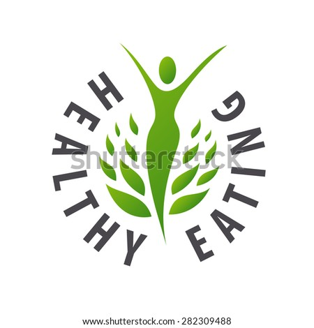 Vector logo girl for healthy food - stock vector