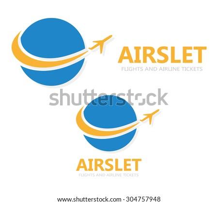 Vector logo globe with airplane - stock vector