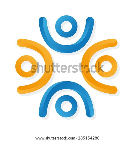 Vector logo group people with their hands up - stock vector