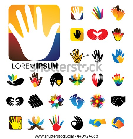 vector logo icon designs of hands and feet. this represents concepts like meditation & yoga, love & commitment, care & hope, family & children, expressions & creativity, business deals, handshakes - stock vector