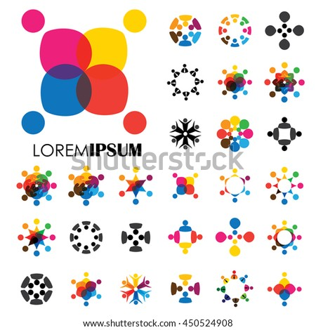 vector logo icon designs of people, children, friendship. this represents concepts like friends together, fun time, physical fitness & exercise, yoga & aerobics, team & teamwork, partnerships - stock vector