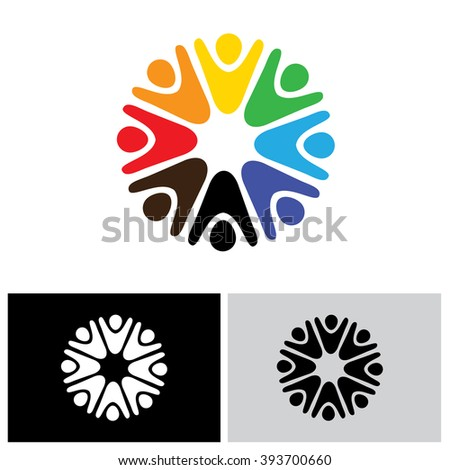 vector logo icon of children playing together. also represents people having fun, jubilation, team and teamwork, community people - stock vector