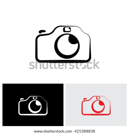 vector logo icon of digital modern camera with flash icon symbol. The graphic shows the photographic equipment in black and white styled like a doodle or hand drawing - stock vector