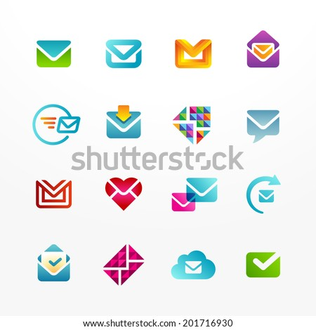 Vector logo icon set based on envelope symbol. Collection of colorful e-mail signs. - stock vector