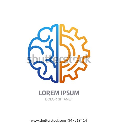 Vector logo icon with brain and gear cog. Abstract outline illustration. Design concept for business solutions, high technology, development, invention and innovation, creativity, scientific themes. - stock vector