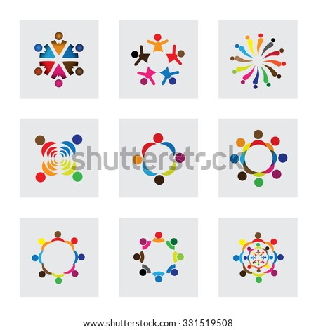 vector logo icons of children playing together. this also represents unity, partnership, leadership, community, engagement, interaction, teamwork, team, kids, students, employees, learning, fun time - stock vector