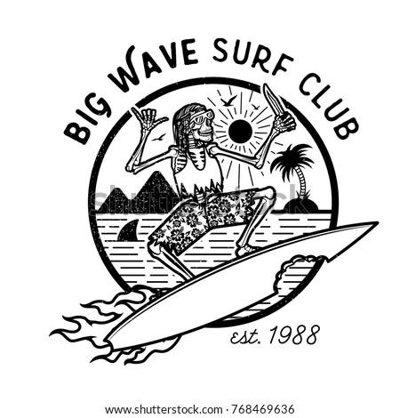 Vector Logo Illustration With Skeleton Surfer Vintage Surfing Emblem For Web Design Or Print