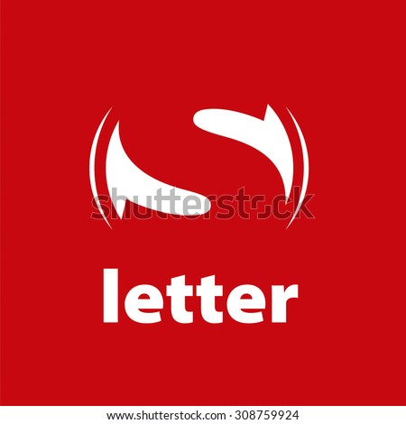 vector logo letter S on a red background - stock vector