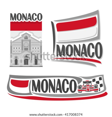 Vector logo Monaco, Saint Nicholas Cathedral in Monte Carlo on background of national state flag, symbol of Monaco and monegasque flag beside racing car close-up. Formula 1 Grand Prix - stock vector