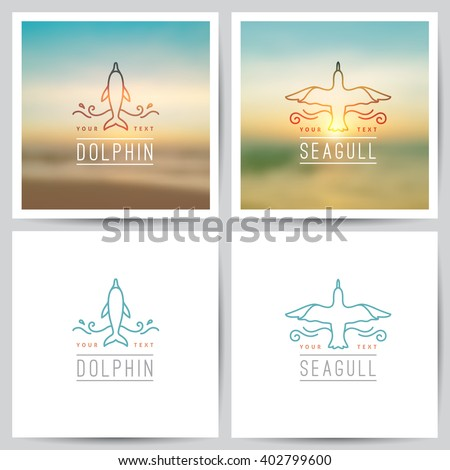vector logo of dolphin and seagull on white background and on blurred seascape