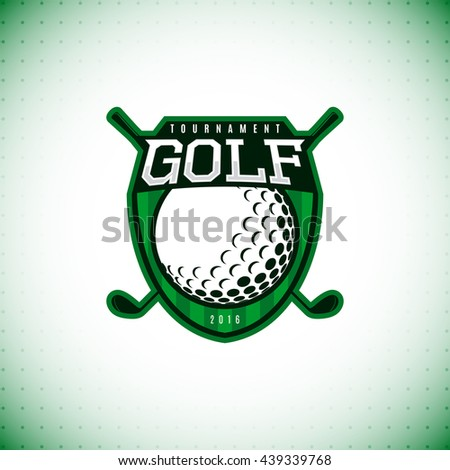 Vector logo of golf championship. Label of golf tournament isolated on white background. Vector illustration. - stock vector