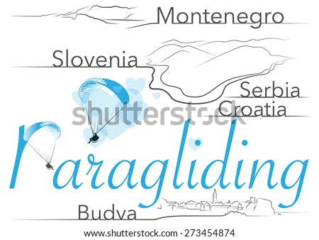 vector logo of paragliding with editions elements / places / different countries - stock vector