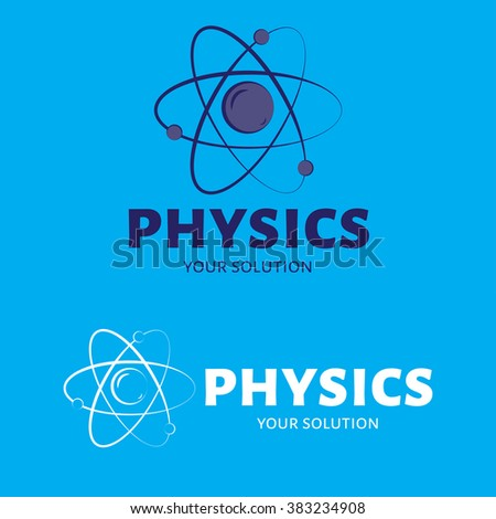Vector logo physics. The atom and the electrons. Blue style - stock vector
