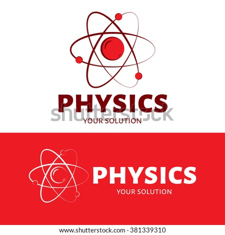 Vector logo physics. The atom and the electrons. Red style - stock vector
