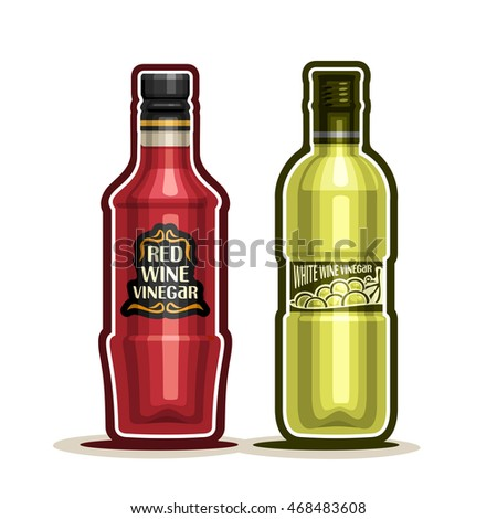 Vector logo Red and White Wine Vinegar Bottles