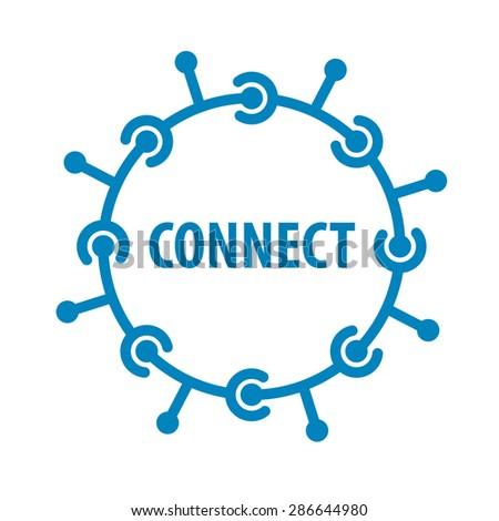 vector logo round chip network - stock vector