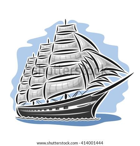 Vector logo sailing ship, barque, sailboat, sailer, vessel, sailing, boat, craft, frigate, schooner, corvette, caravel, galleon, floating blue sea, ocean, waves. Cartoon sailing vessel, sea regatta - stock vector