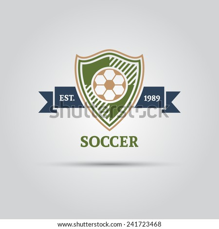 vector logo shield with a soccer ball and with ribbon for your text - stock vector