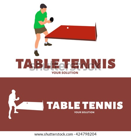 Vector logo table tennis. The tennis player is pitching racket - stock vector