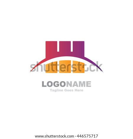 Vector logo template. Abstract design concept for ecology theme, real estate agency, building company, urban landscape, city life.