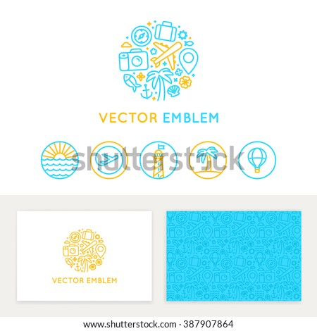 Vector logo template, business card design and linear emblems and icons - travel agency and tour guide