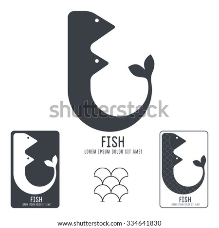 vector logo, the letter F in the form of fish