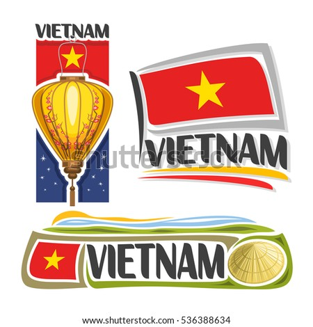 Vector logo Vietnam, 3 isolated images: vertical banner traditional paper lantern with plum blossom on background vietnamese national state flag, conical hat non la, republic of vietnam ensign flags.