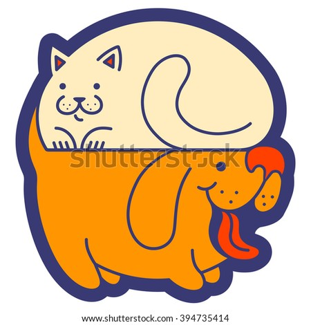 Vector logo with cat and dog