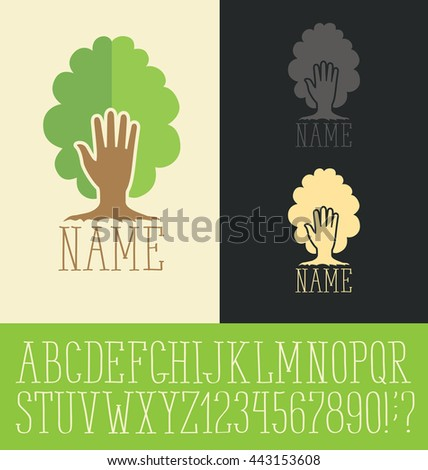 Vector logo with hand made font. Tree concept - stock vector